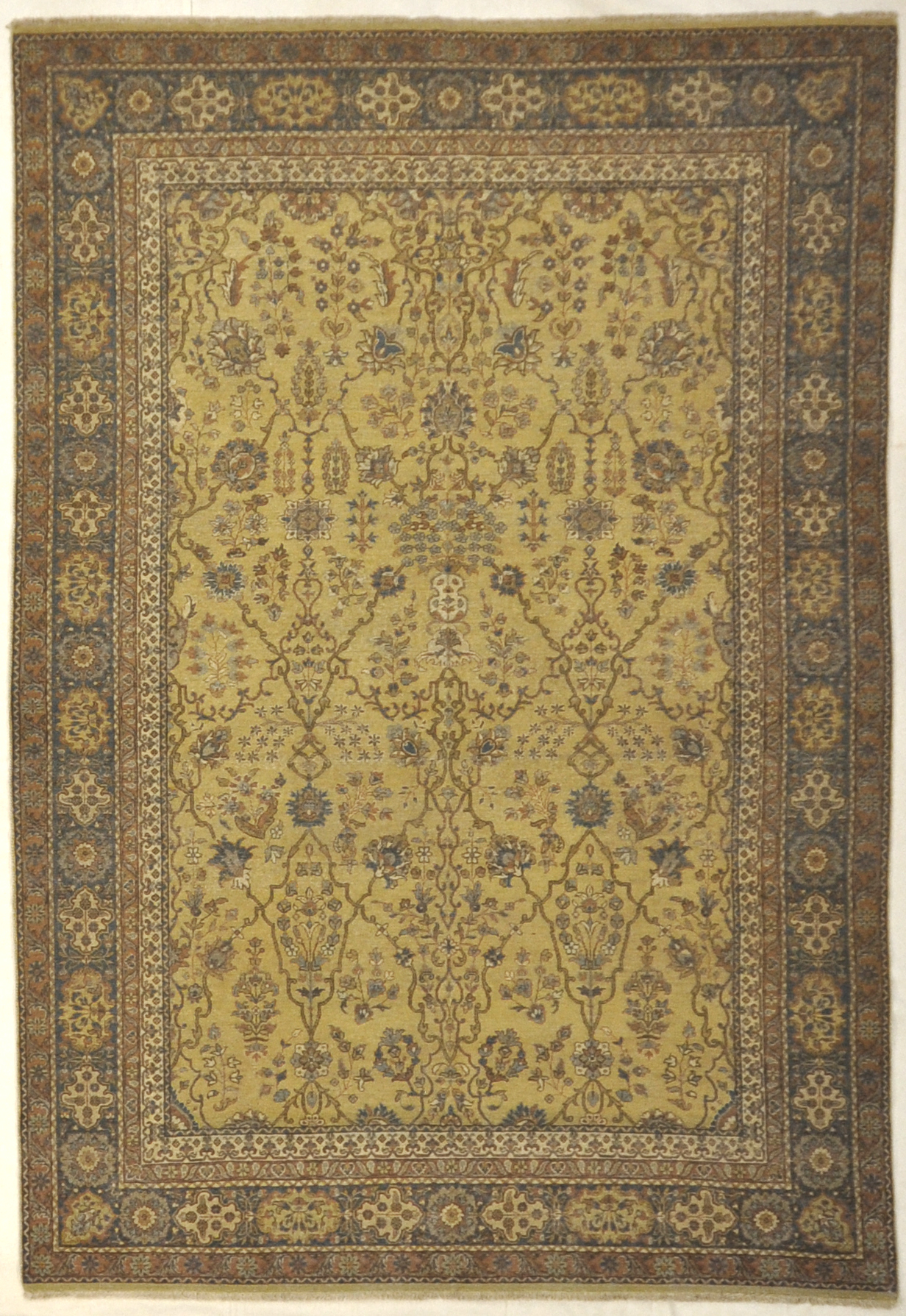 Antique Yellow and Blue Larestan Indian Rug. A piece of genuine antique woven carpet art sold by the Santa Barbara Design Center, Rugs and More.