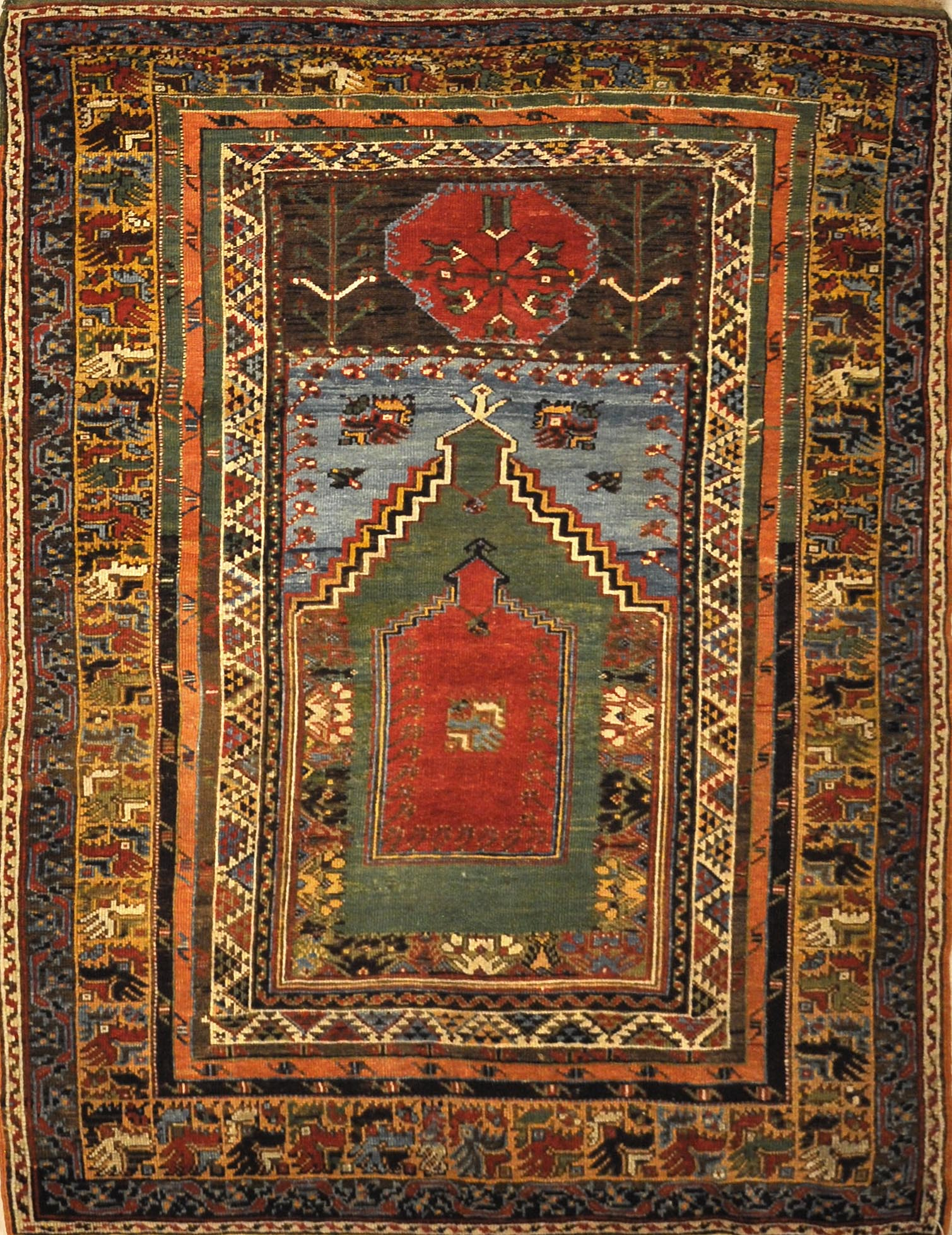 This Mudjur Meditation Prayer Rug has the richest palette of all Anatolian rugs, and resemble the very fine Caucasian rugs.This Mudjur Meditation Prayer Rug has the richest palette of all Anatolian rugs, and resemble the very fine Caucasian rugs.