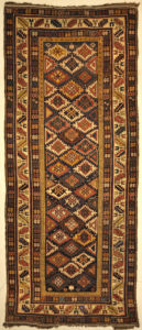 Antique Shirvan Runner Rug. A piece of authentic antique genuine woven carpet art sold by Santa Barbara Design Center, Rugs and More.