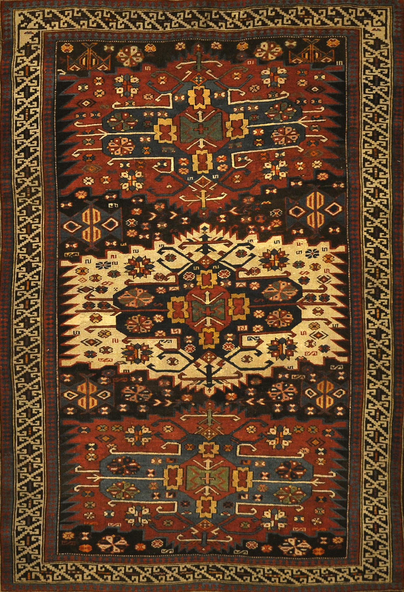 Antique Shirvan Rug Circa 1880. A piece of genuine authentic antique woven carpet art sold by Santa Barbara Design Center Rugs and More.