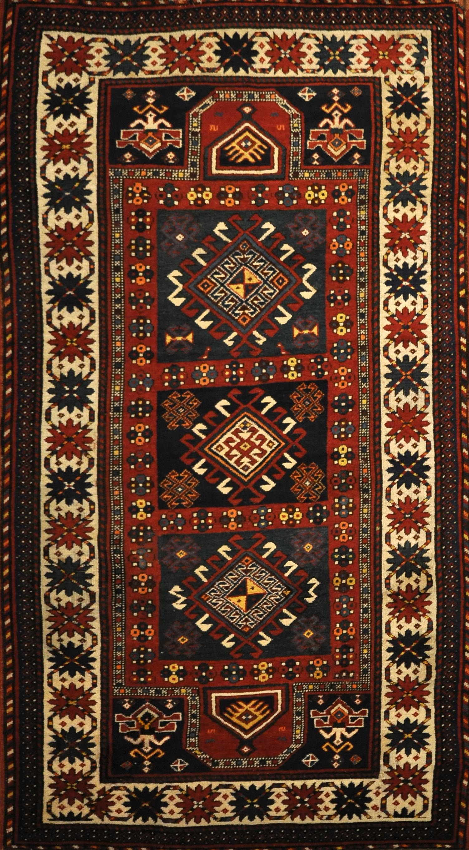 Antique Kazak Double Prayer Rug Santa Barbara Design