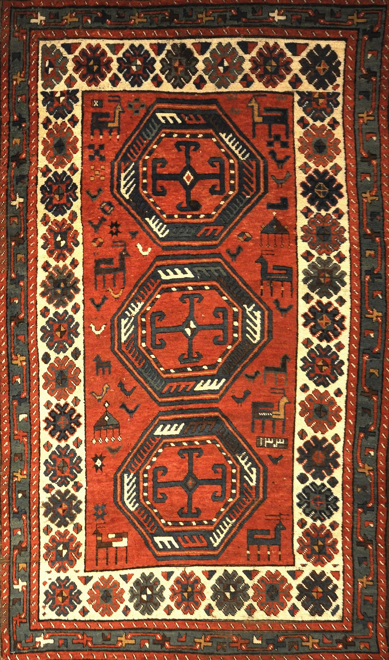 Talish Caucasian Rug Circa 1880. A piece of genuine authentic antique woven carpet art sold by the Santa Barbara Design Center, Rugs and More.