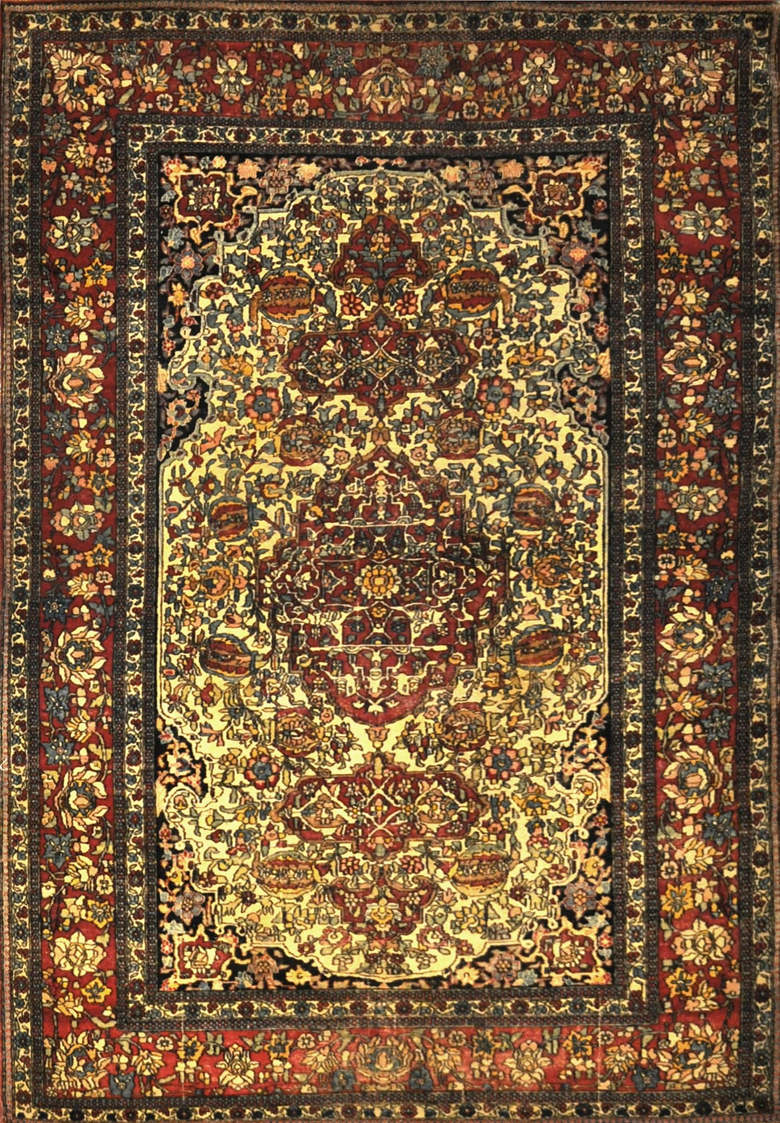 Antique Kerman Rug Circa 1890. A piece of genuine authentic antique woven carpet art sold by Santa Barbara Design Center, Rugs and More.