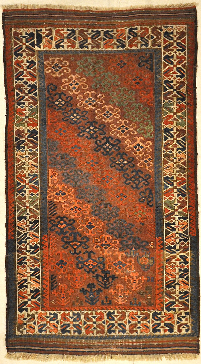 Unique Colorful Circa 1890s Beluch. A piece of genuine authentic woven carpet art sold by Santa Barbara Design Center Rugs and More.