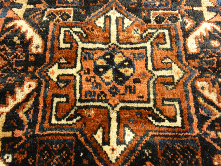 Antique Khamseh Original Southwest Persian Rug. A piece of genuine authentic woven carpet art sold by Santa Barbara Design Center Rugs and More.