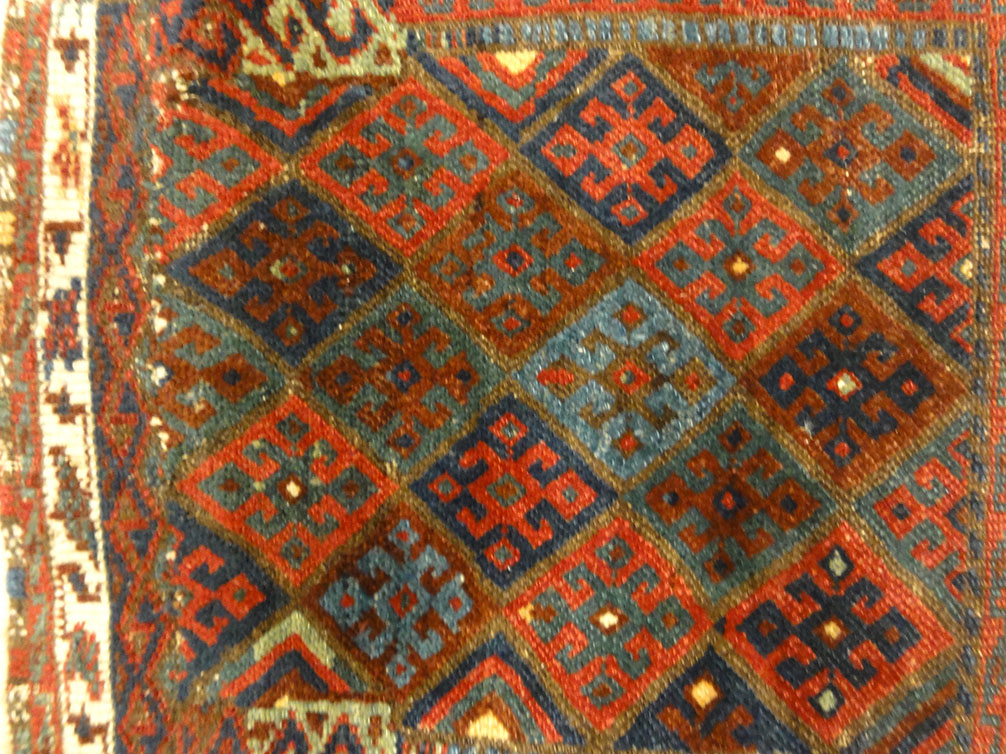 Antique Persian Jaf Kurd Rug Circa 1880. A piece of genuine authentic woven carpet art sold by Santa Barbara Design Center Rugs and More.