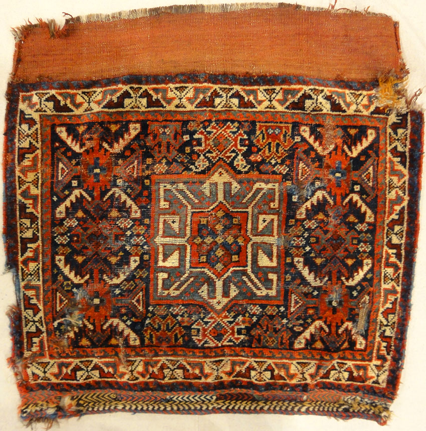 Antique Khamseh Bag Face. Rugs & More in the Santa Barbara Design Center. This is a made from fine craftsmanship and lustrous wool.