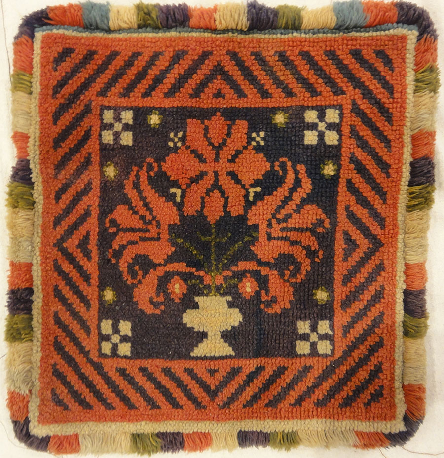 Antique Swedish Floral Pile Rug. A piece of genuine antique woven carpet art sold at Santa Barbara Design Center Rugs and More.
