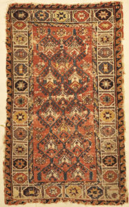 Antique Rare Size and Design Soumak Rug. A piece of genuine antique woven carpet art sold by the Santa Barbara Design Center, Rugs and More.