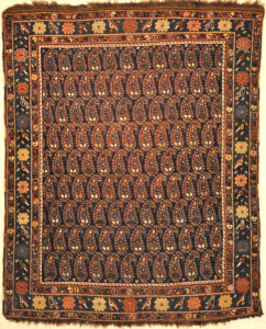 Antique Afshar Traditional Boteh Rug. A piece of genuine authentic antique woven carpet art sold by Santa Barbara Design Center, Rugs and More.