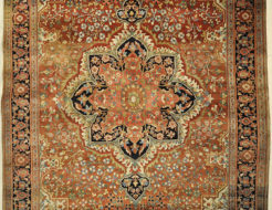 Rare Antique Fine Farahan Circa 1870. A piece of genuine authentic woven carpet art sold by the Santa Barbara Design Center, Rugs and More.
