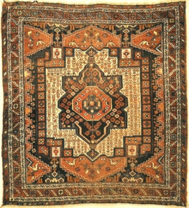 Antique Persian Afshar Rug Circa 1880. A piece of genuine authentic antique woven carpet art sold by Santa Barbara Design Center Rugs and More.
