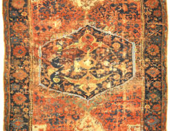 Antique Rare Medallion Oushak from the 16th Century. A piece of genuine authentic antique woven carpet art sold by Santa Barbara Design Center Rugs and More