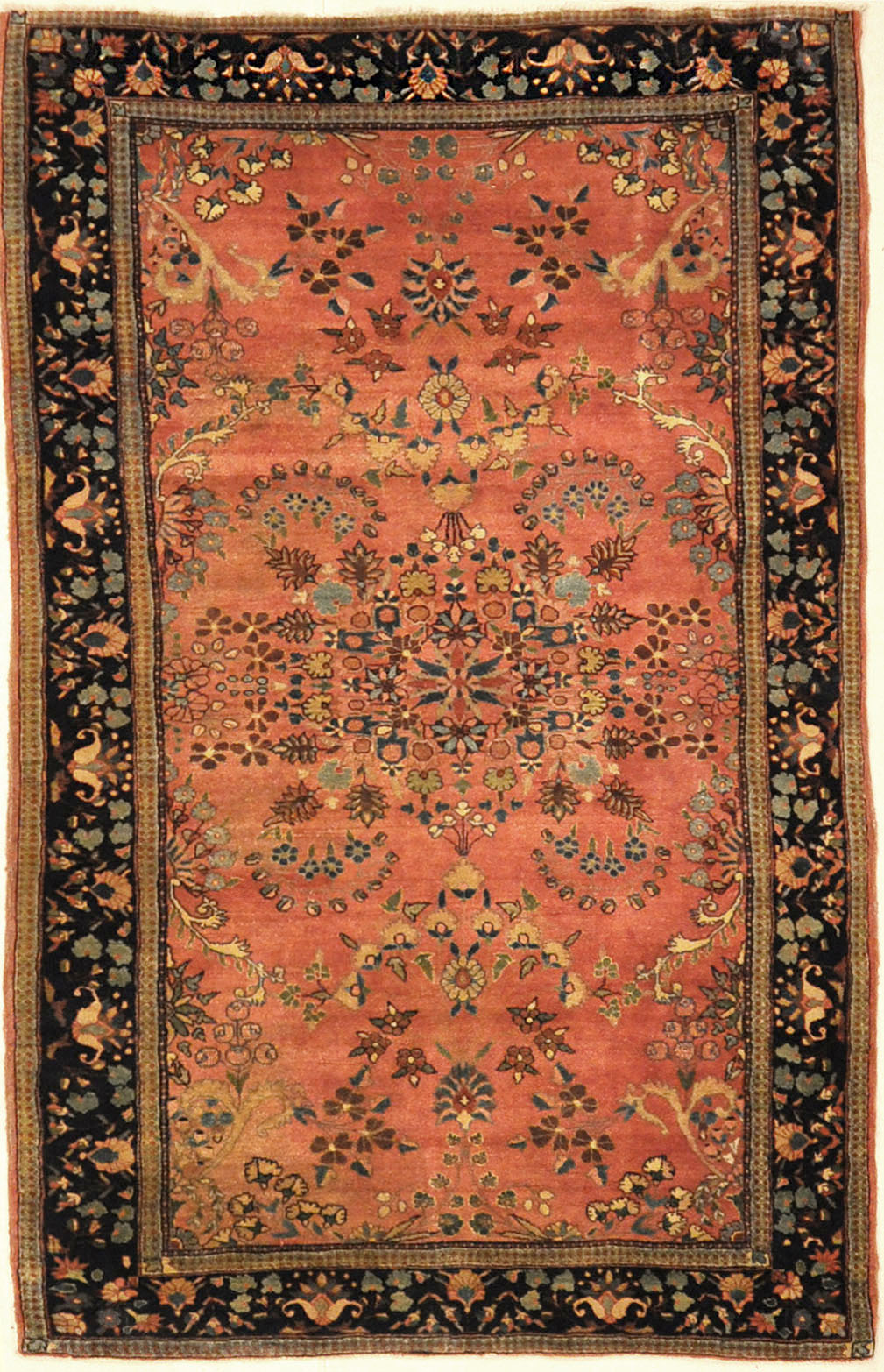 Antique Mohajesan Sarouk Finest Example Of It's Kind. A piece of genuine antique woven carpet art sold by the Santa Barbara Design Center, Rugs and More.