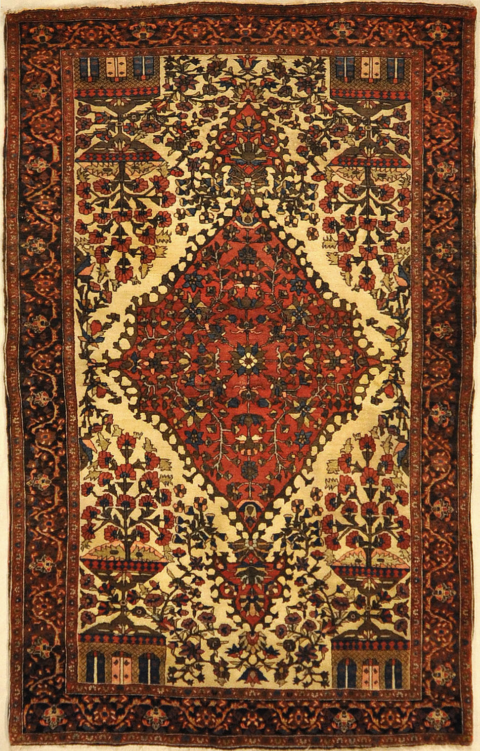 Sarouk Farahan Rug Circa 1880. A piece of genuine authentic antique woven carpet art sold by the Santa Barbara Design Center, Rugs and More.