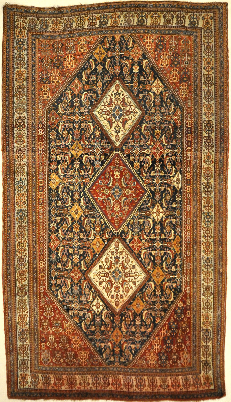 Fine Antique Qashqai Kashkuli Rug. A piece of genuine authentic antique woven carpet art sold by Santa Barbara Design Center, Rugs and More.