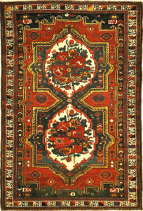 Antique Armenian Gole Farangi Rug A piece of woven antique carpet art sold by the Santa Barbara Design Center Rugs and More.