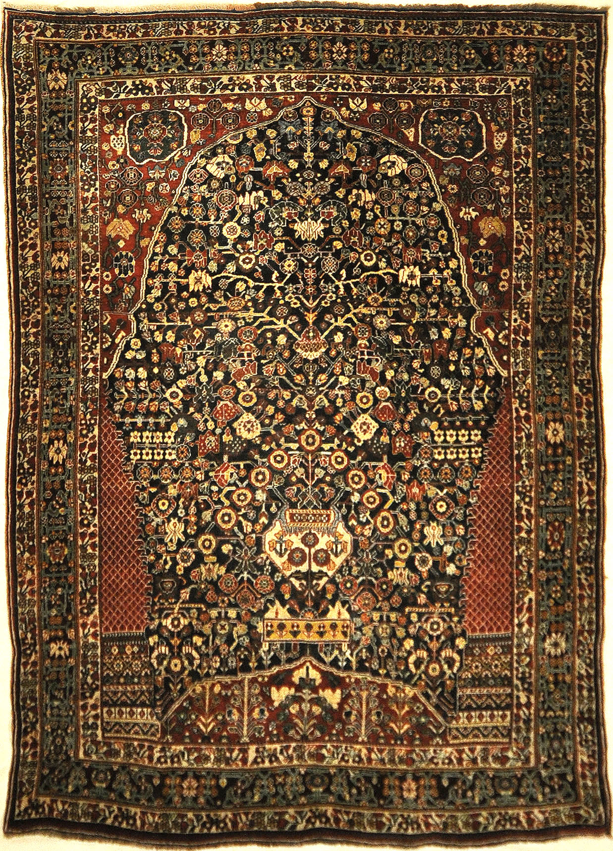Very Rare Antique Qashqai 1001 Flowers Rug. A piece of genuine authentic antique woven carpet art sold by the Santa Barbara Design Center, Rugs and More.