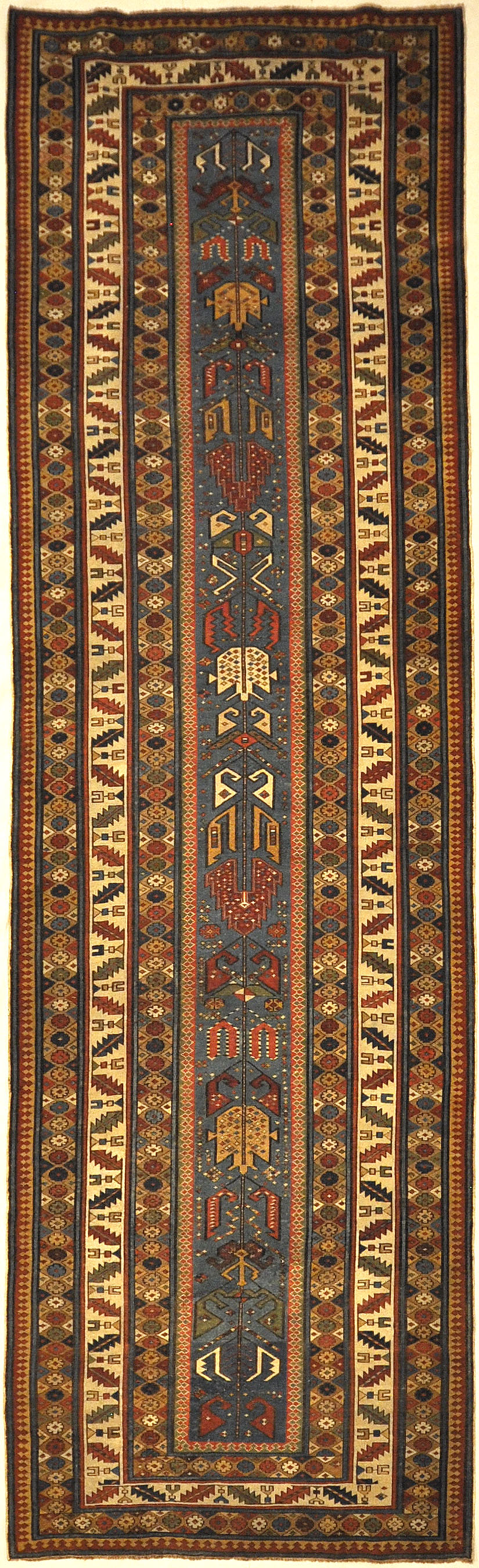 Antique Early 19th Century Shirvan Runner Rug. A piece of genuine authentic woven carpet art sold by the Santa Barbara Design Center Rugs and More.