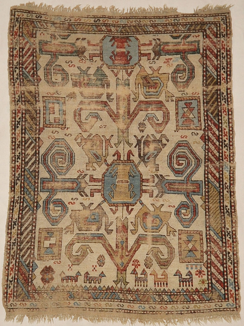 Antique Early Caucasian Proto Northern Kurdish Rug Circa 1700s. A piece of antique woven carpet art sold by Santa Barbara Design Center, Rugs and More.