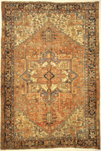 Antique Heriz Rug. A piece of genuine authentic antique woven carpet art sold by the Santa Barbara Design Center, Rugs and More.