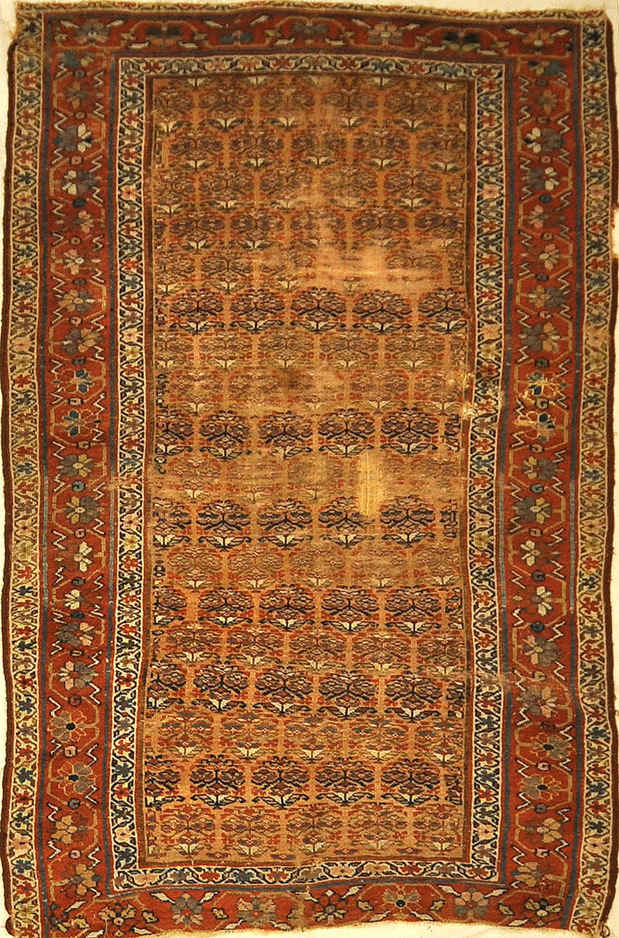 Antique Kurdish Rug ca 1880. A piece of genuine authentic antique woven carpet art sold by Santa Barbara Design Center, Rugs and More.