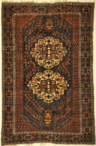 Antique Intricate Boteh Afshar Rug. A piece of genuine authentic antique woven carpet art sold by Santa Barbara Design Center, Rugs and More.