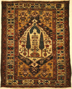 Rare Baktiari Rug Woven by Armenians feat. Cypress and Weeping Willow Trees. A piece of genuine antique woven carpet art sold by Santa Barbara Design Center