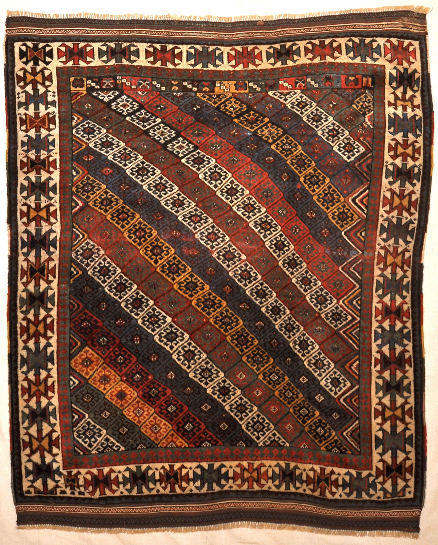 Unique Rare Jaf Kurd Rug Circa 1860s. A piece of genuine authentic woven carpet art sold by the Santa Barbara Design Center, Rugs and More.