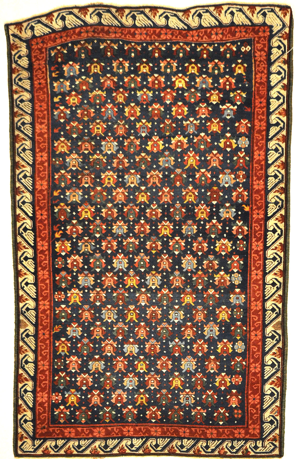 Rare Antique Cabbage Rose Seychour Rug. A piece of genuine authentic antique woven carpet art sold by the Santa Barbara Design Center, Rugs and More.