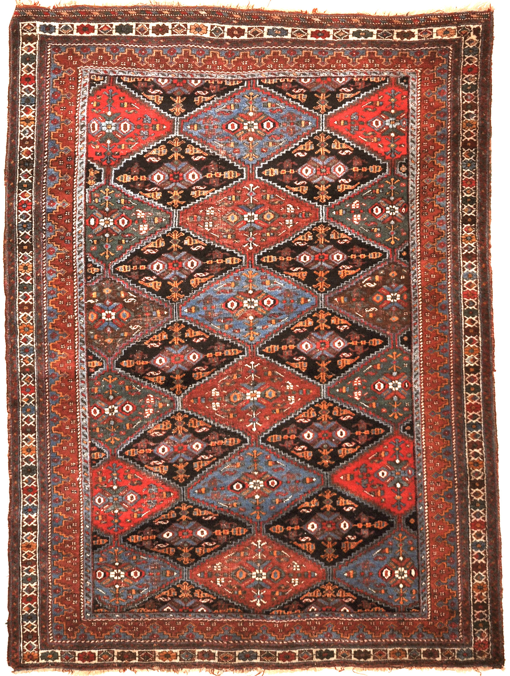 Fine Antique Afshar Rug. A genuine authentic antique piece of woven carpet art sold by Santa Barbara Design Center, Rugs and More.
