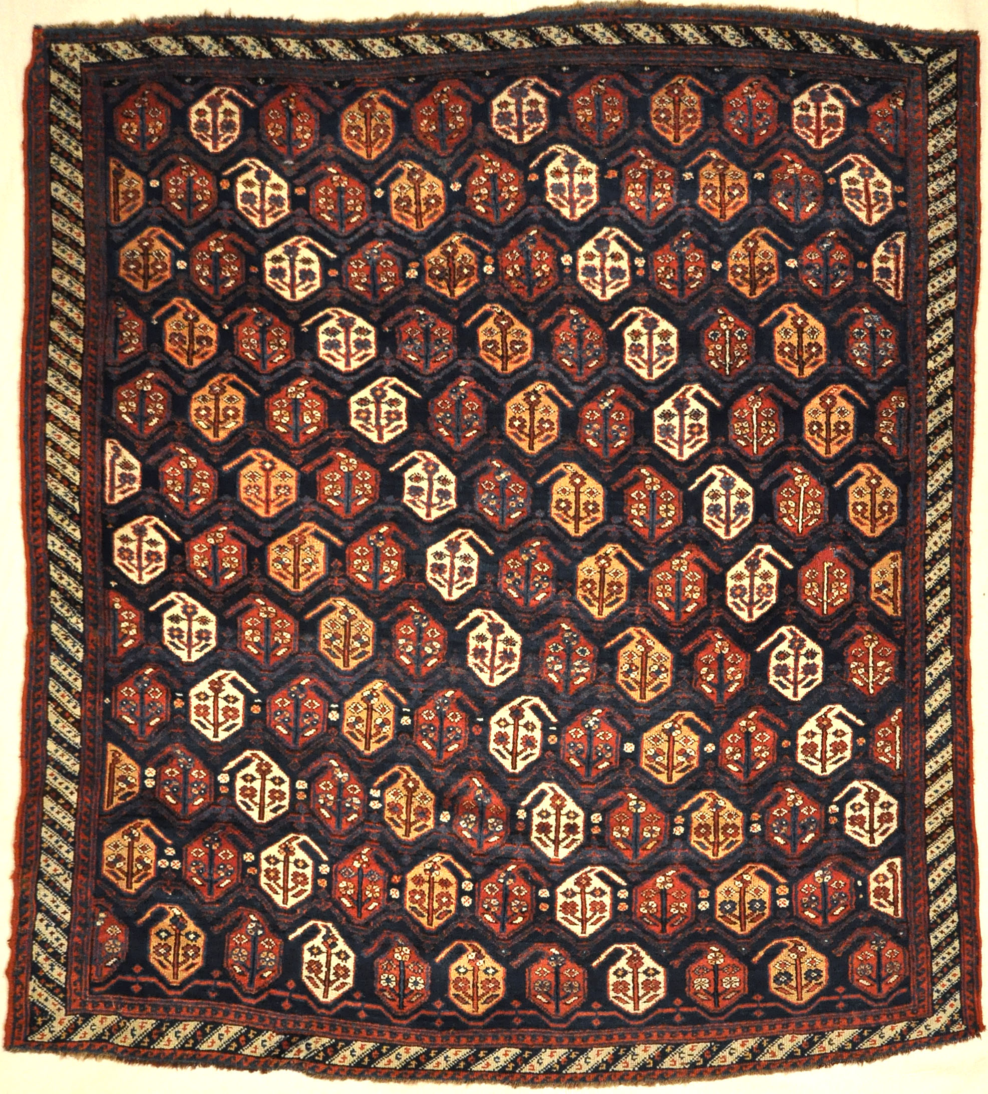 Rare 1870s Antique Boteh Afshar. A piece of authentic genuine antique woven carpet art sold by Santa Barbara Design Center, Rugs and More.