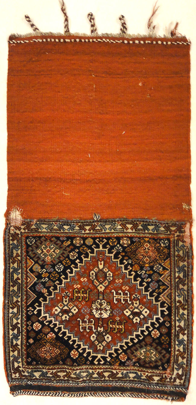Antique Persian Khamseh Circa 1880. A piece of antique woven carpet art sold by Santa Barbara Design Center, Rugs and More in Santa Barbara, California.