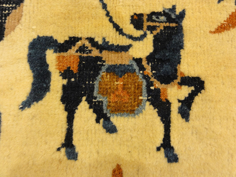 Antique Wool Peking Horse Cover. A piece of genuine antique woven carpet art sold by Santa Barbara Design Center, Rugs and More in Santa Barbara, California