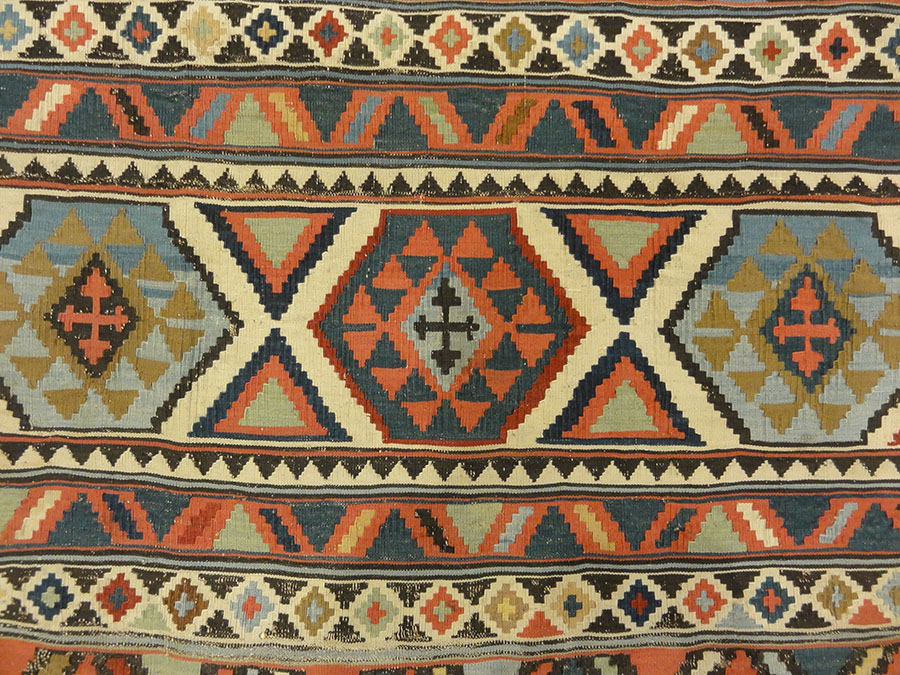 Antique Fine Shirvan Rug. A piece of genuine antique woven carpet art sold by Santa Barbara Design Center, Rugs and More in Santa Barbara, California.