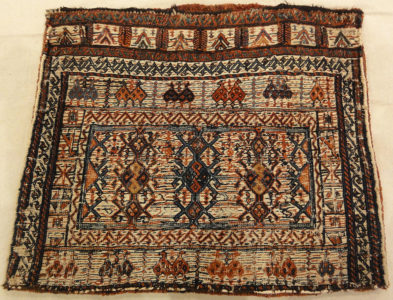 Persian Bakhtiari Camel Bag. A piece of antique woven carpet art sold by Santa Barbara Design Center, Rugs and More in Santa Barbara, California.