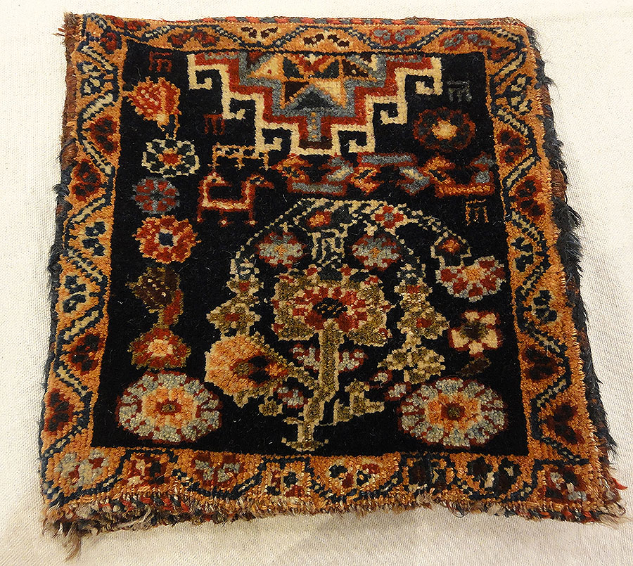 Antique Qashqai Chanteh Women's Bag. A piece of antique woven carpet art sold by Santa Barbara Design Center, Rugs and More in Santa Barbara, California.