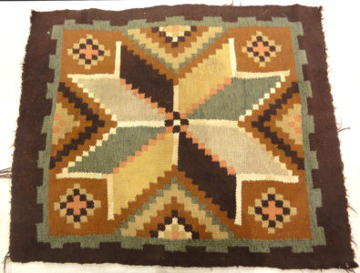 Antique Small Swedish Kelim Rug. A piece of antique woven carpet art sold by the Santa Barbara Design Center, Rugs in More in Santa Barbara, California.