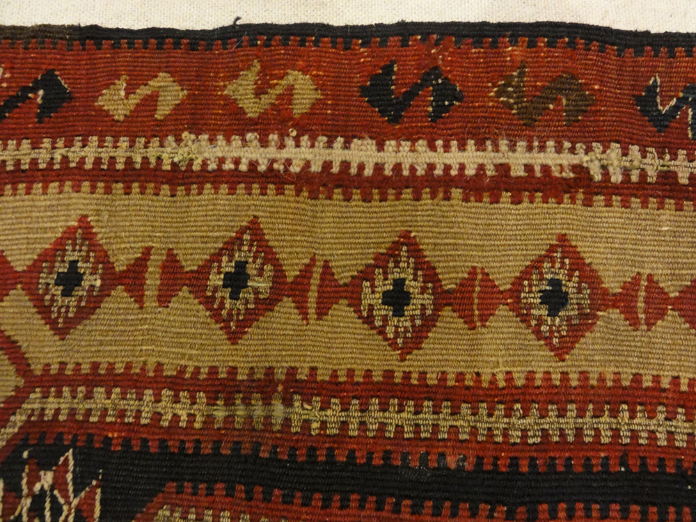 Rare Antique Yastik Woven with Metal Thread. A piece of genuine authentic woven carpet art sold by Santa Barbara Design Center, Rugs and More.