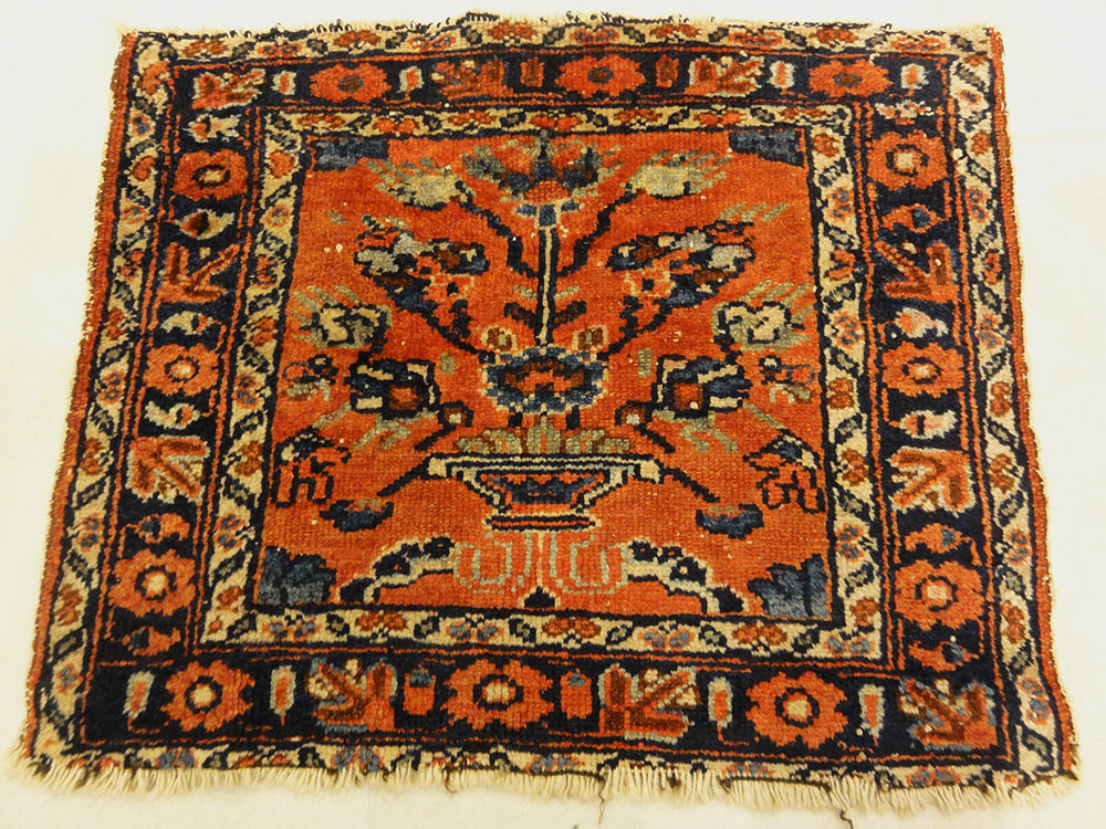 Antique Persian Malayar Vase of Flowers Bagface. A piece of genuine authentic antique woven carpet art sold by the Santa Barbara Design Center Rugs and More