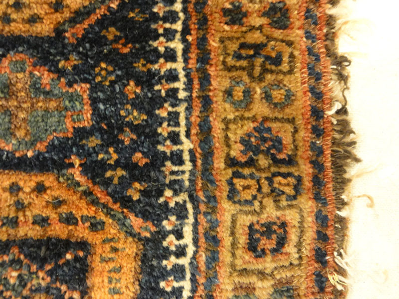Antique Kurdish West Persian Bagface with Peacocks. A piece of genuine authentic antique woven carpet art sold by Santa Barbara Design Center Rugs and More
