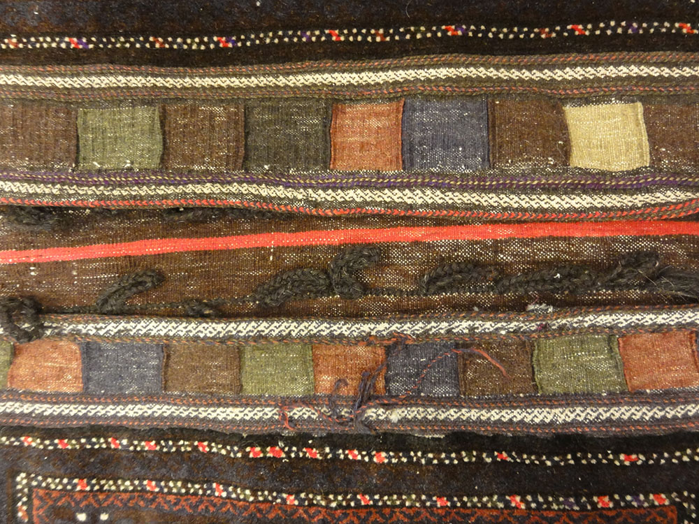 Antique Beluch Saddle Bag. A piece of genuine authentic antique woven carpet art sold by Santa Barbara Design Center, Rugs and More.