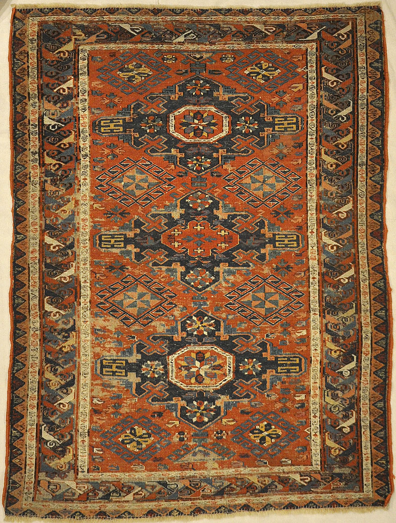 Antique Soumak Kuba Rug. A piece of genuine authentic woven carpet art sold by Santa Barbara Design Center Rugs and More.