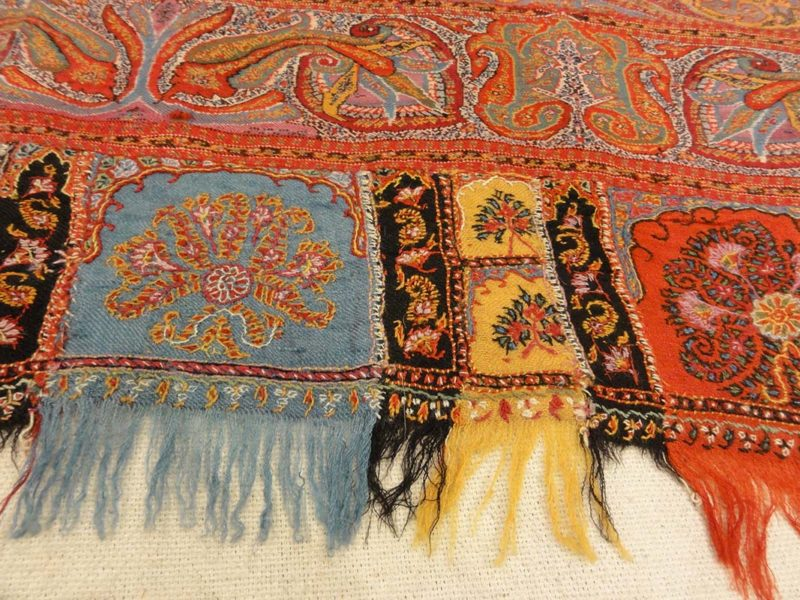 Antique Finest 1700s Persian Pashmina Kashmiri Shawl. Antique woven carpet art sold by Santa Barbara Design Center Rugs and More in Santa Barbara California