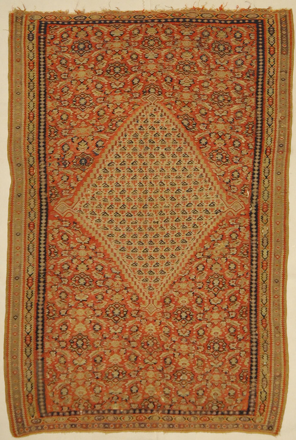 Antique Senneh Second Half of 19th Century. A piece of antique woven carpet art sold by Santa Barbara Design Center Rugs and More Santa Barbara California
