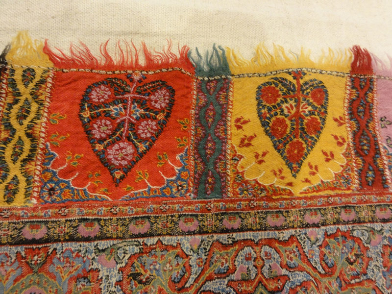 Antique Kashmiri Wool and Silk Pashmina circa 1700s. A piece of woven wool and silk art sold by Santa Barbara Design Center Rugs and More in Santa Barbara.