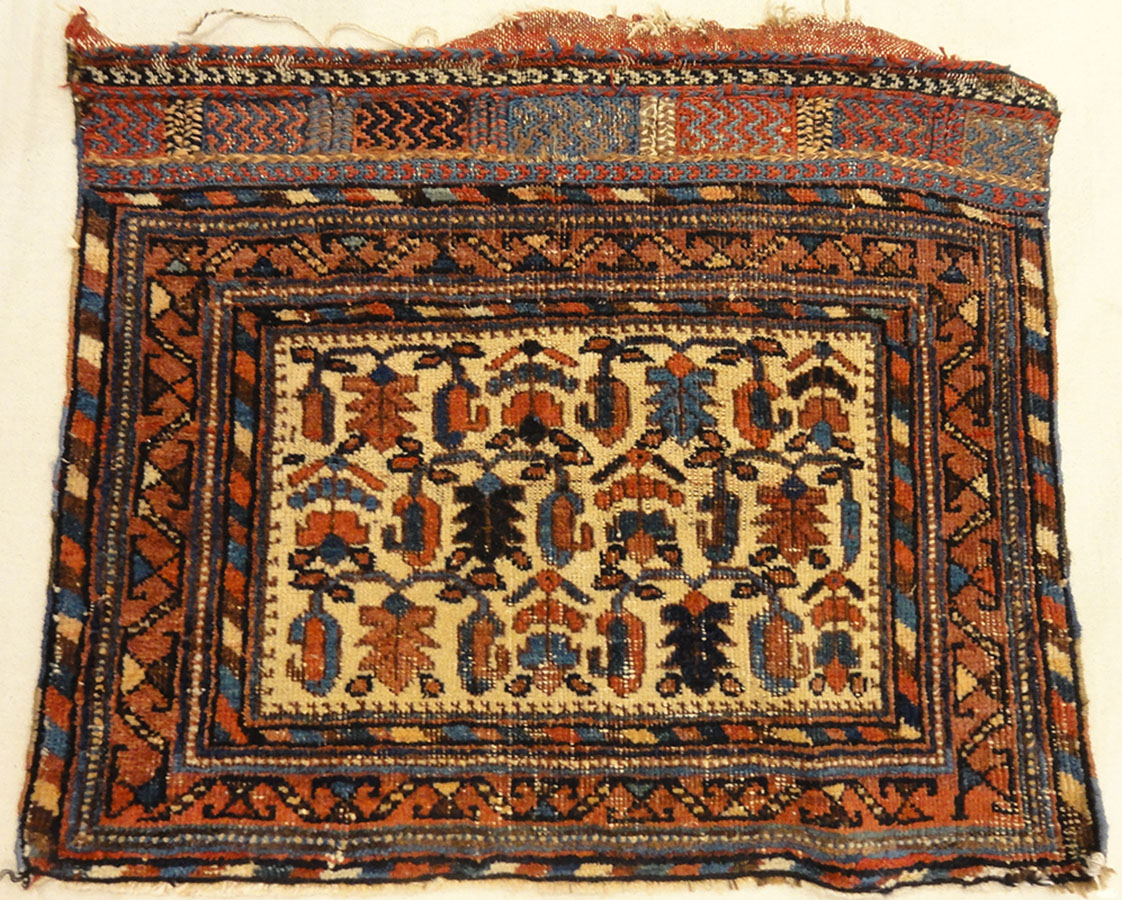 Antique Botteh Afshar Bagface. A piece of antique woven carpet art sold by Santa Barbara Design Center Rugs and More in Santa Barbara, California.