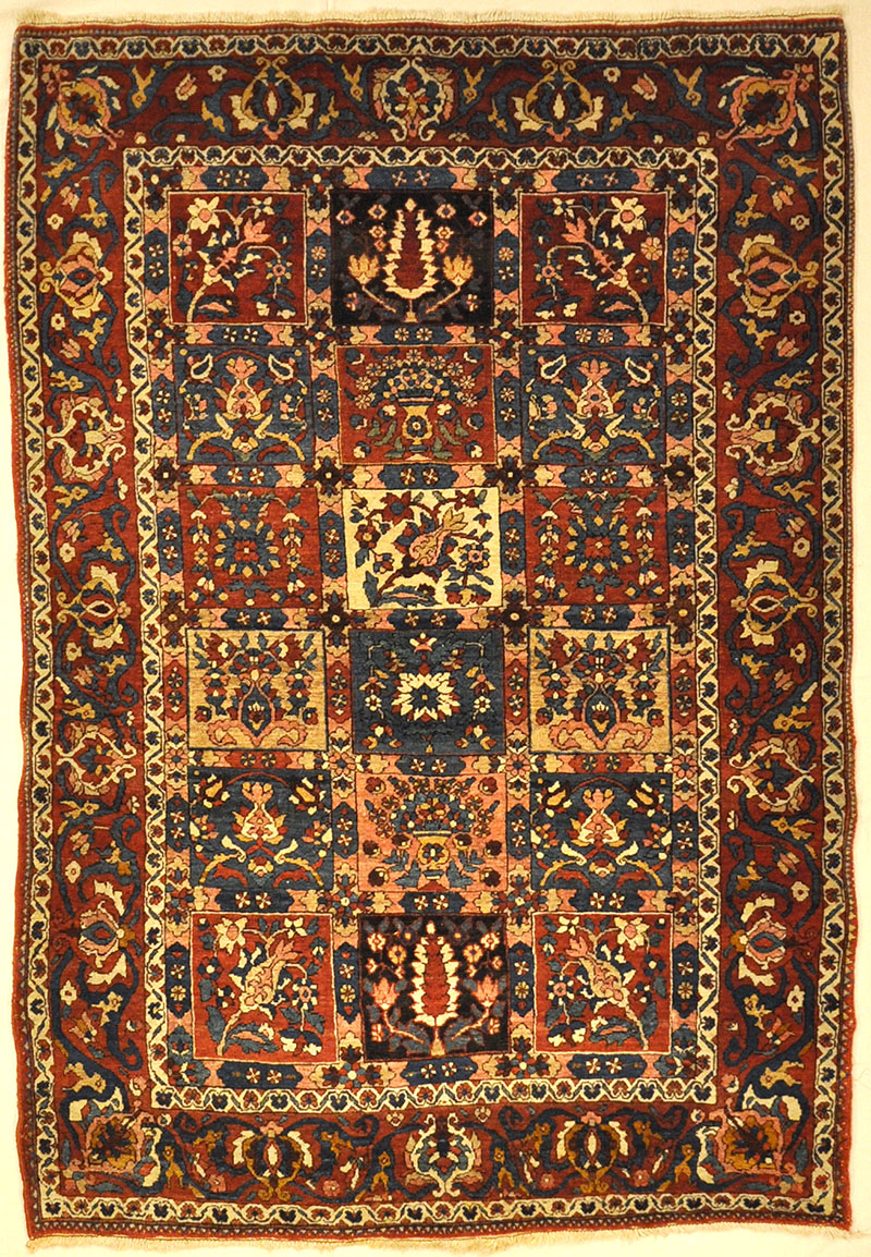 Antique Bakhtiari Garden of Paradise Rug representing the gardens of kings. Sold by Santa Barbara Design Center, Rugs and More in Santa Barbara, California.