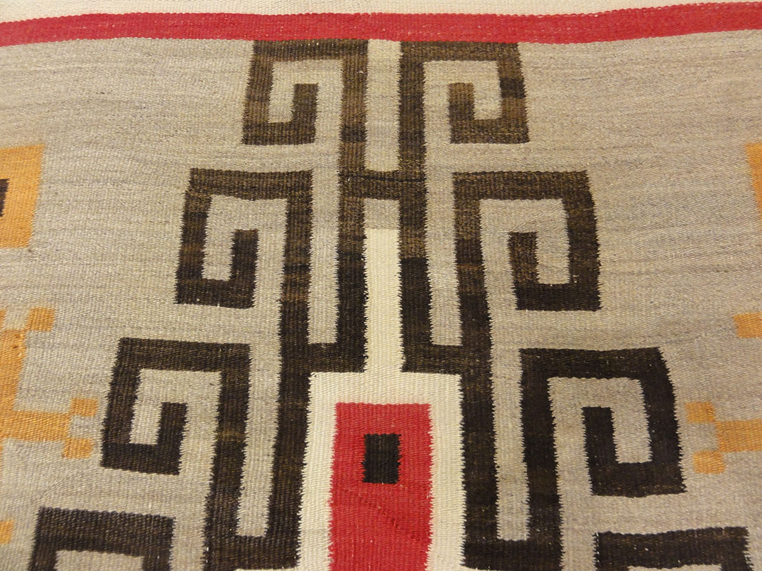 Large Antique Navajo Rug circa 1890-1900 featuring two grey hills. Sold by Santa Barbara Design Center, Rugs and More in Santa Barbara, California.