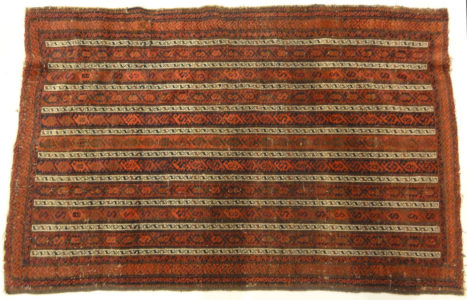 Antique Original Afghan Beluch circa 1880. A piece of genuine woven carpet art sold at the Santa Barbara Design Center Rugs and More in Santa Barbara, CA.